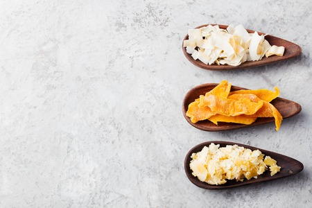 Dried mango, coconut chips and palm sugar Top view