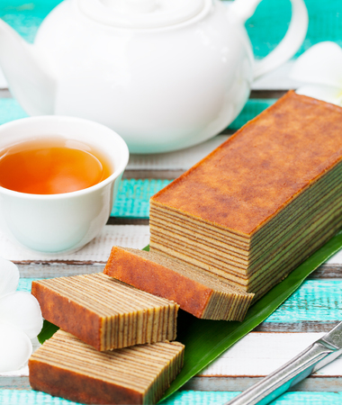 Traditional Indonesian sweet Lapis layer cake. Stok Fotoğraf