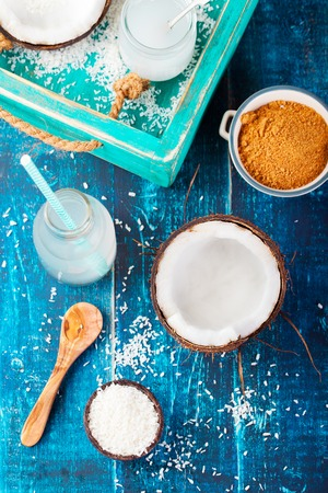 sugar palm: Coconut with coconut oil, water and sugar Top view Stock Photo