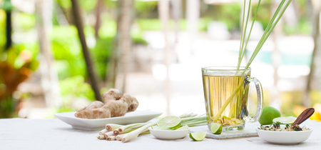 Herbal green tea with lemongrass and ginger. 스톡 콘텐츠