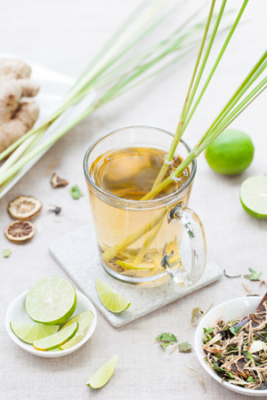 lemongrass tea: Herbal green tea with lemongrass and ginger. Stock Photo