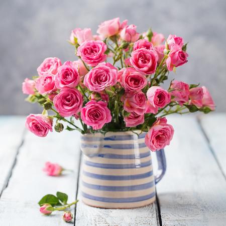 Rose Flowers In Vase Beautiful Romantic Bouquet Copy Space Stock