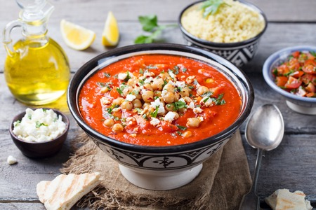 Chickpea soup. Moroccan traditional dish on a wooden background. Copy space. Standard-Bild