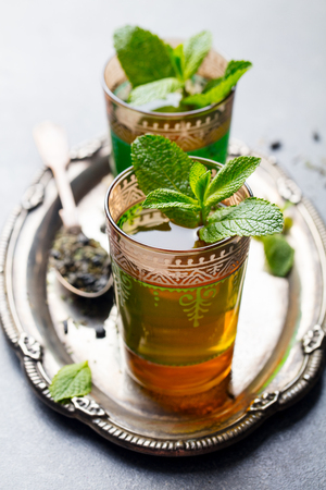 Mint and green tea. Moroccan traditional drink. Stock Photo