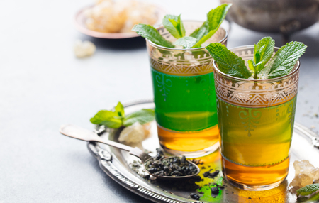 Mint, green tea Moroccan traditional drink. Copy space