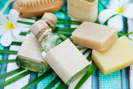 Spa and wellness massage setting. Outdoor summer background. Close up Stock Photo