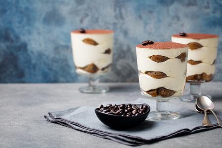 Tiramisu, traditional Italian dessert with savoiardi in glass on a grey stone background. Copy space.
