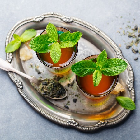 Mint tea, Moroccan traditional drink in glass. Top view.