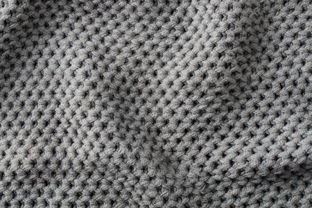 Grey knitted wool texture background pattern with high resolution. Top view. Copy space Stock Photo