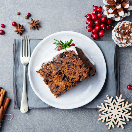 Christmas fruit cake, pudding on white plate. Copy space. Top view.