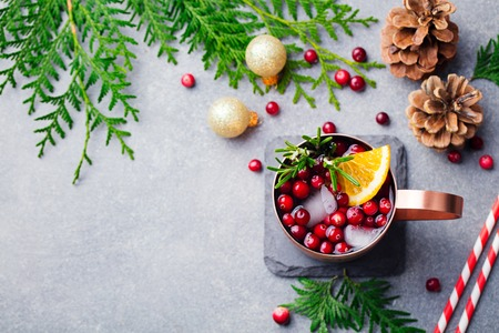 Christmas Moscow mule, holiday drink in a copper mug. Grey stone background. Top view. Copy space. Stock Photo