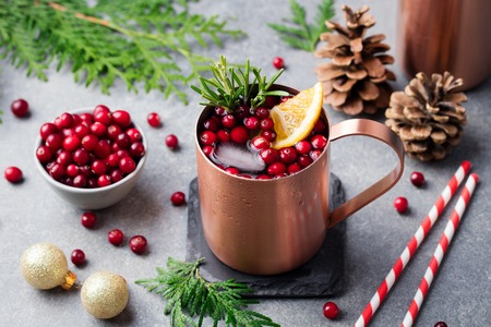 Christmas Moscow mule, holiday drink in a copper mug. Grey stone background.