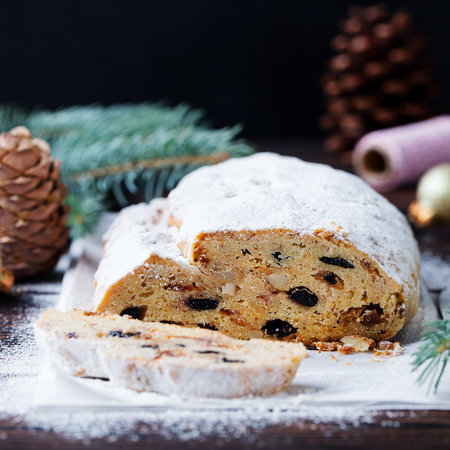 Christmas stollen. Traditional German festive dessert. Copy space. Close up.