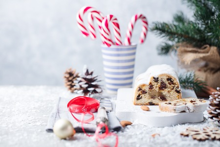 Christmas stollen. Traditional German festive dessert. Copy space.