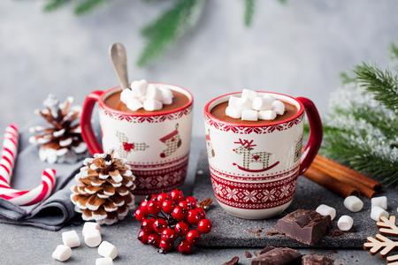 Heißes Schokoladengetränk mit Marshmallows. Weihnachten, Neujahrsdekoration. Grauer Hintergrund. Nahansicht. Platz kopieren. Standard-Bild