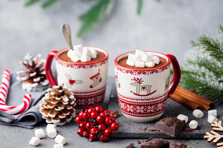 Hot chocolate drink with marshmallows. Christmas, New Year decoration. Grey background. Close up. Copy space.
