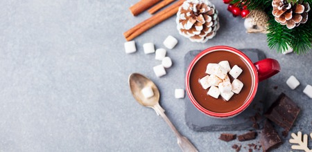 Hot chocolate drink with marshmallows. Christmas, New Year decoration. Grey background. Copy space. Top view. Stock Photo