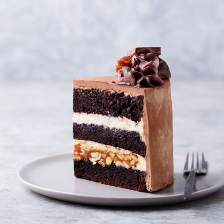 Chocolat, caramel, gâteau aux arachides, snickers sur une assiette. Fond gris. Fermer.