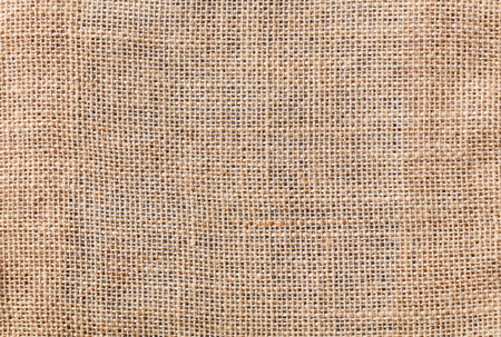 Burlap, canvas fabric texture background. Top view. Copy space.