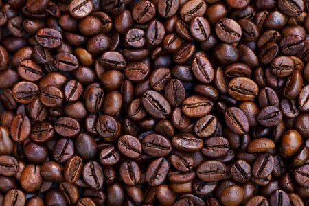 Coffee beans background. Top view. Copy space. Foto de archivo - 122695115