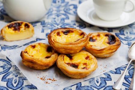 Egg tart, traditional Portuguese dessert, pastel de nata on a parchment paper. Blue background.