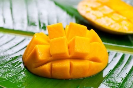 Fresh mango on green palm leaf. Close up.