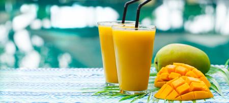 Fresh tropical fruit smoothie mango juice and fresh mango on a outdoor Reklamní fotografie