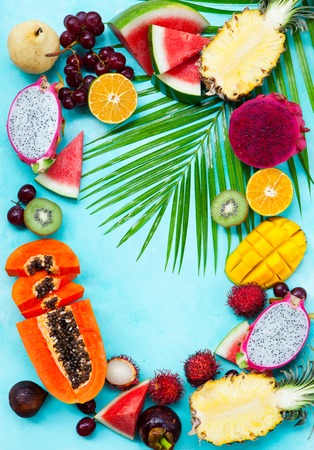 Assortment of tropical exotic fruits.