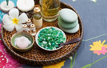 Spa, heath care, wellness, massage set of essential oils, soap and sea salt