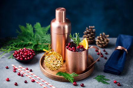 Moscow mule cocktail set, Christmas and New Year holiday drink. Close up. Stockfoto