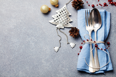 Christmas and New Year holiday table setting celebration. Copy space. Top view.