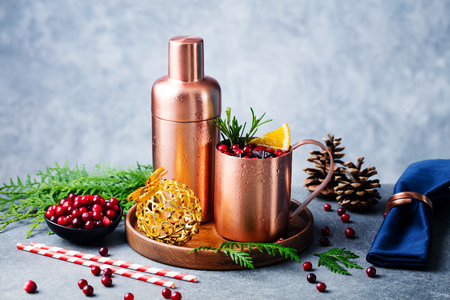 Moscow mule cocktail set, Christmas and New Year holiday drink. Copy space. Grey backround.