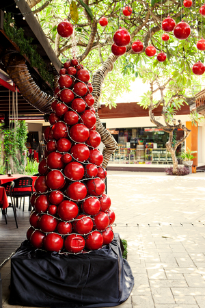 Christmas, New Year tree, decoration with red balls. Stockfoto