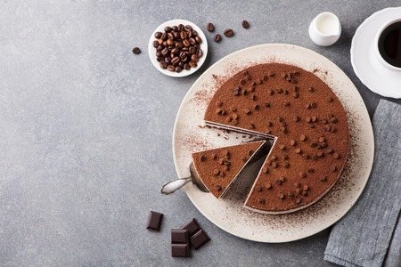 Tiramisu cake with chocolate decoration on a plate.