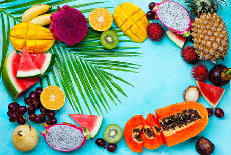 Assortment of tropical exotic fruits.