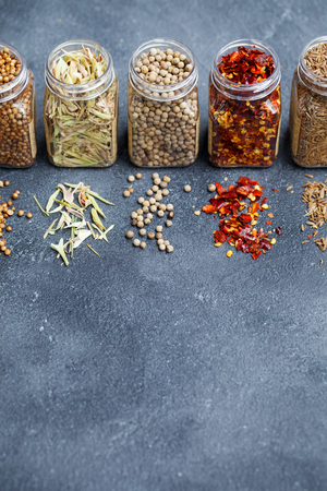 Assortment of spices in jars.