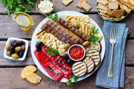 Kebab. Traditional middle eastern, arabic or mediterranean meat kebab with grilled vegetables. Top view.