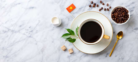 Coffee with Vietnamese flag on marble table. Copy space. Top view.