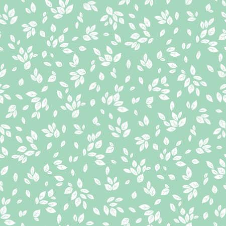 Vector feminine mint green and white monochrome foliage seamless pattern background Illustration