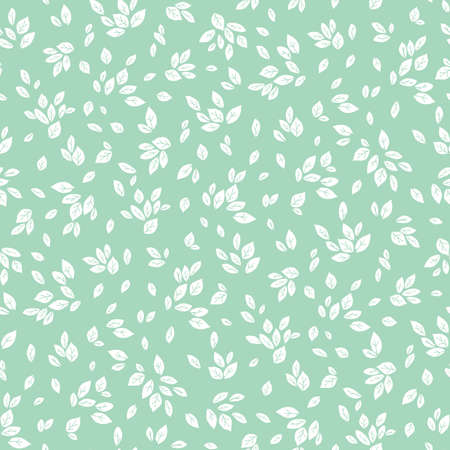 Vector feminine mint green and white monochrome foliage seamless pattern background Ilustração