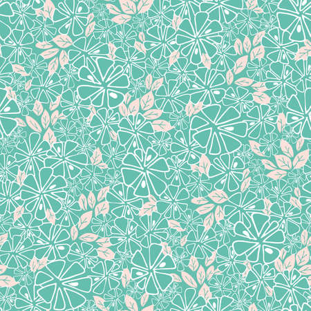 Vector turqouise and white flowers and pink foliage seamless pattern background