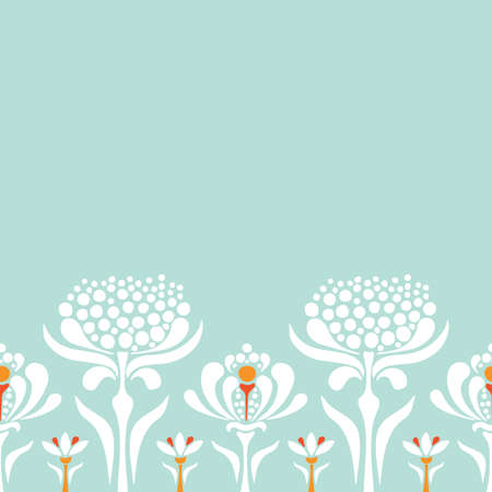 Vector seamless border with retro style flowers. Floral lace background