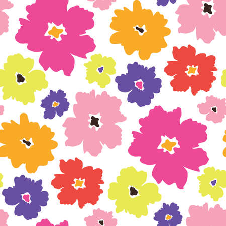 Colourful graphic large scale floral vector seamless pattern. Simplistic oversized hand drawn blooms scattered on white background. Bold minimal stylized flowers. Petal power trend