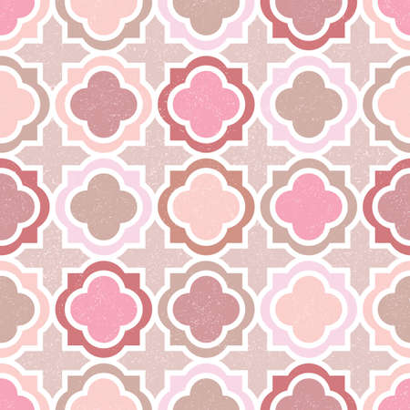 Textured Pink and Beige Barbed Quatrefoil Vector Seamless Pattern Background. Classic geometric pattern in subdued desert colors. Textured print. Perfect for scrapbooking, wallpapers, giftwrapping.