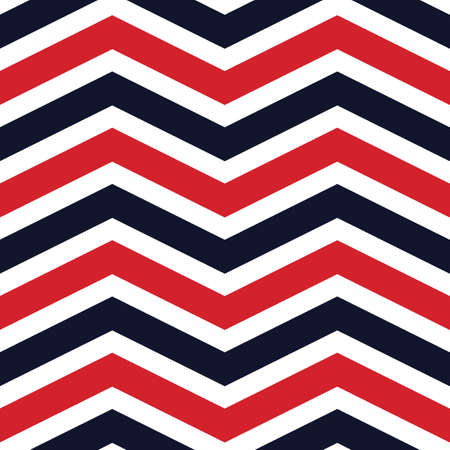 Classic vector seamless pattern with red and navy blue chevrons on a white background. Abstract print perfect for wrapping, packaging, textile and interior decoration.