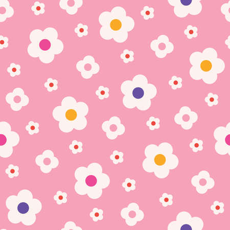 Retro Mod Style Simple Cream Daisy Flowers on Pink Background Vector Seamless Pattern. Clean Abstract Florals. Vintage print perfect for home decor, wallpapers, backgrounds, textile, stationery, invitations.  イラスト・ベクター素材