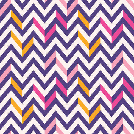 Retro Mod Vector Seamless Irregular Chevron Pattern in pink, purple, yellow on cream background. Stylish Classic Print 矢量图像