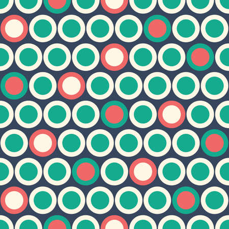 Retro Mod Vector Seamless Polka Dot Pattern in red, green, cream on dark blue background. Stylish Classic Print  イラスト・ベクター素材