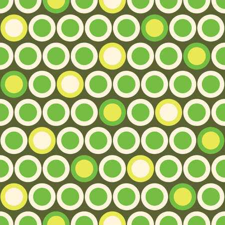 Retro Mod Vector Seamless Polka Dot Pattern in Green, Acid Yellow on Beige Background. Stylish Graphic Abstratc Print