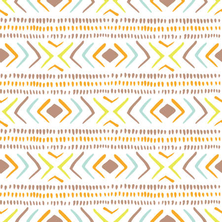 Hand drawn earthy tones tribal patterns, stripes, mimicking folk stitching on white background. Vector seamless pattern. Fresh and cute abstract geometric drawing. Summer print. Perfect for textiles, scrapbooking and gift wrapping.